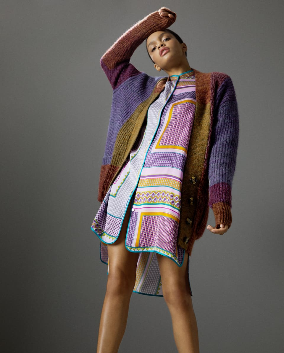 MULTICOLOURED PATCHWORK CARDIGAN