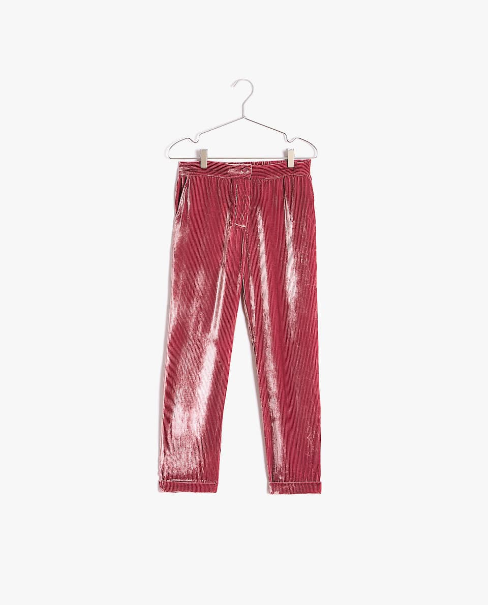 CREASED VELVET TROUSERS