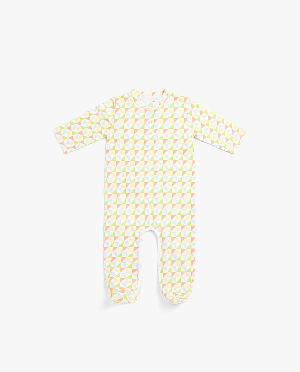 GEOMETRIC DESIGN FOOTED PYJAMAS