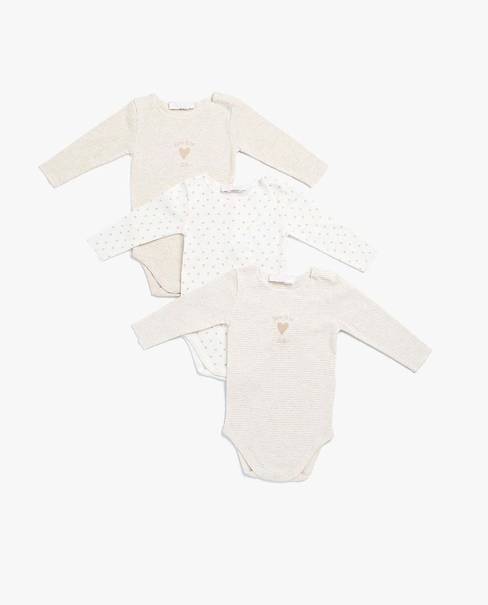 PRINTED COTTON BODYSUIT (SET OF 3)