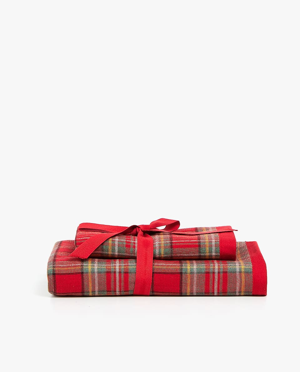TARTAN CHECK GUEST TOWEL (PACK OF 2)