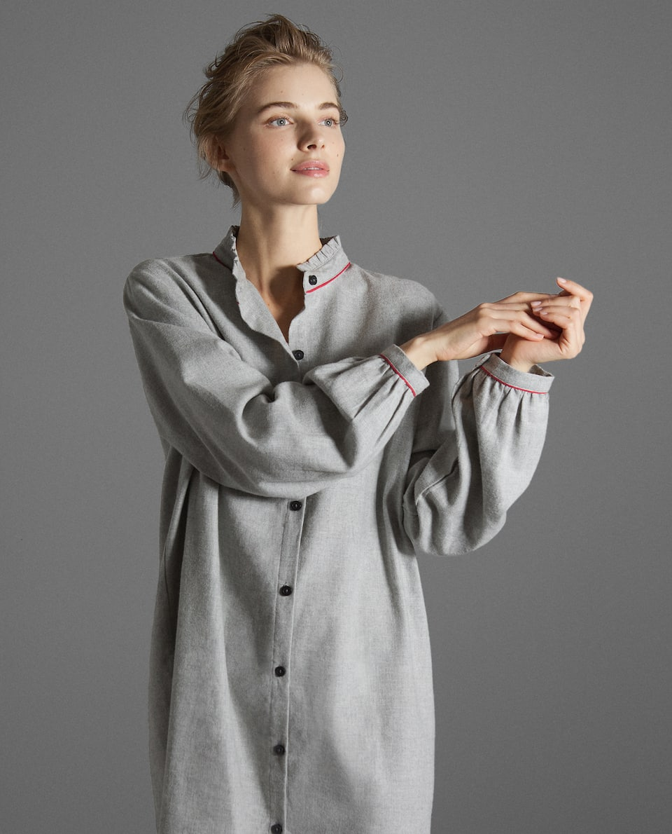 GREY FLANNEL NIGHTDRESS