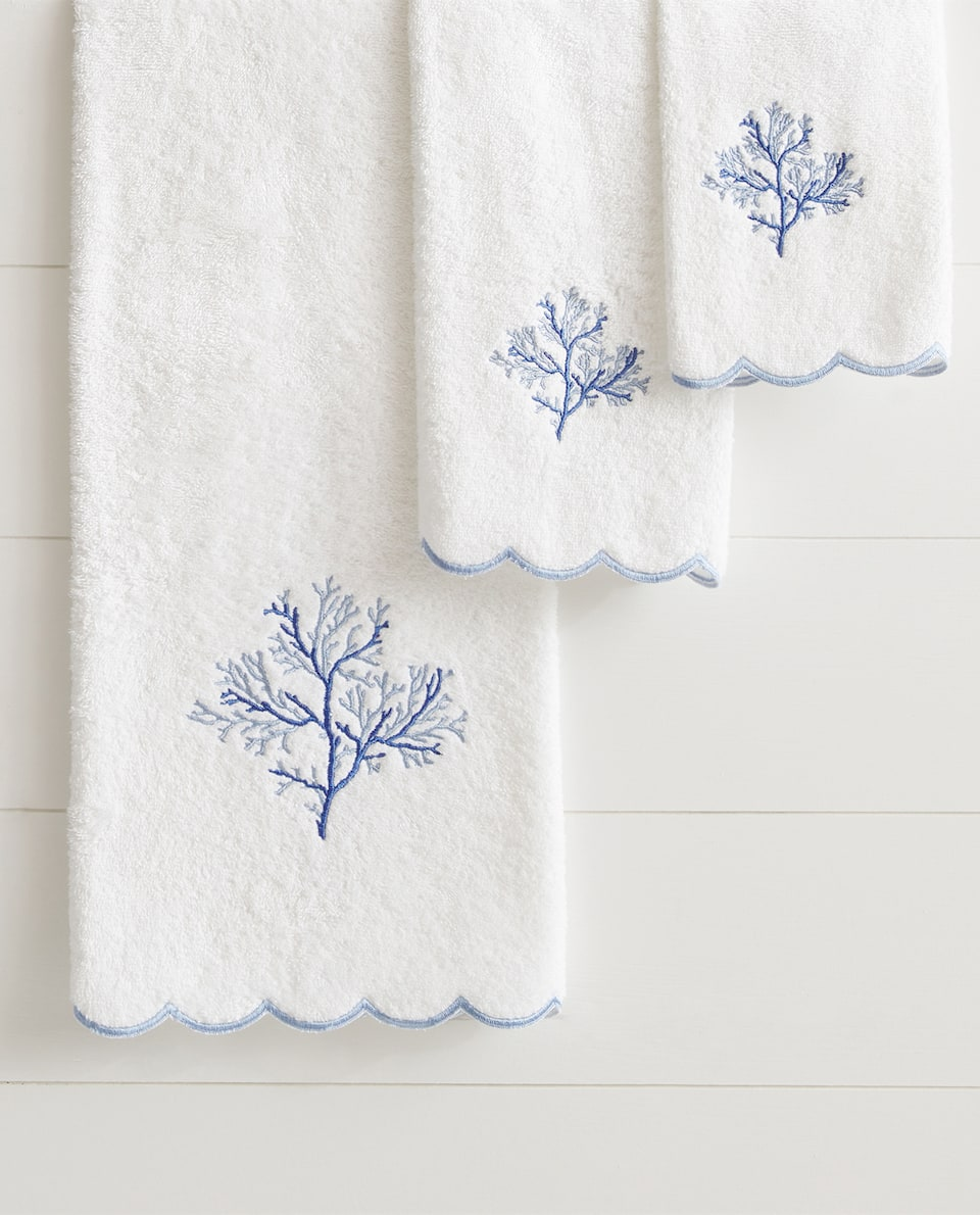 SPECIAL COLLECTION EMBROIDERED CORAL TOWEL