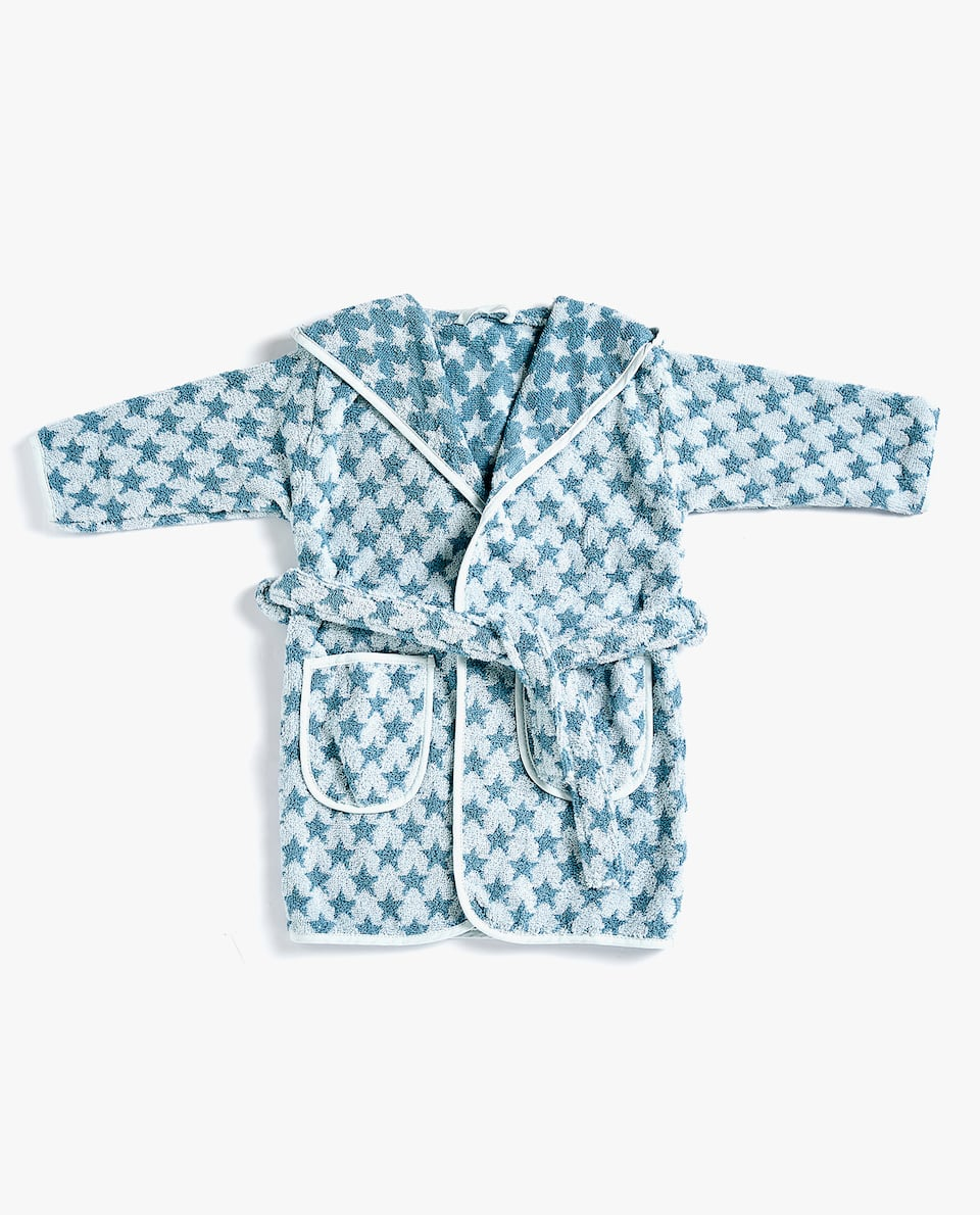 BABY JACQUARD BATHROBE WITH STAR PRINT