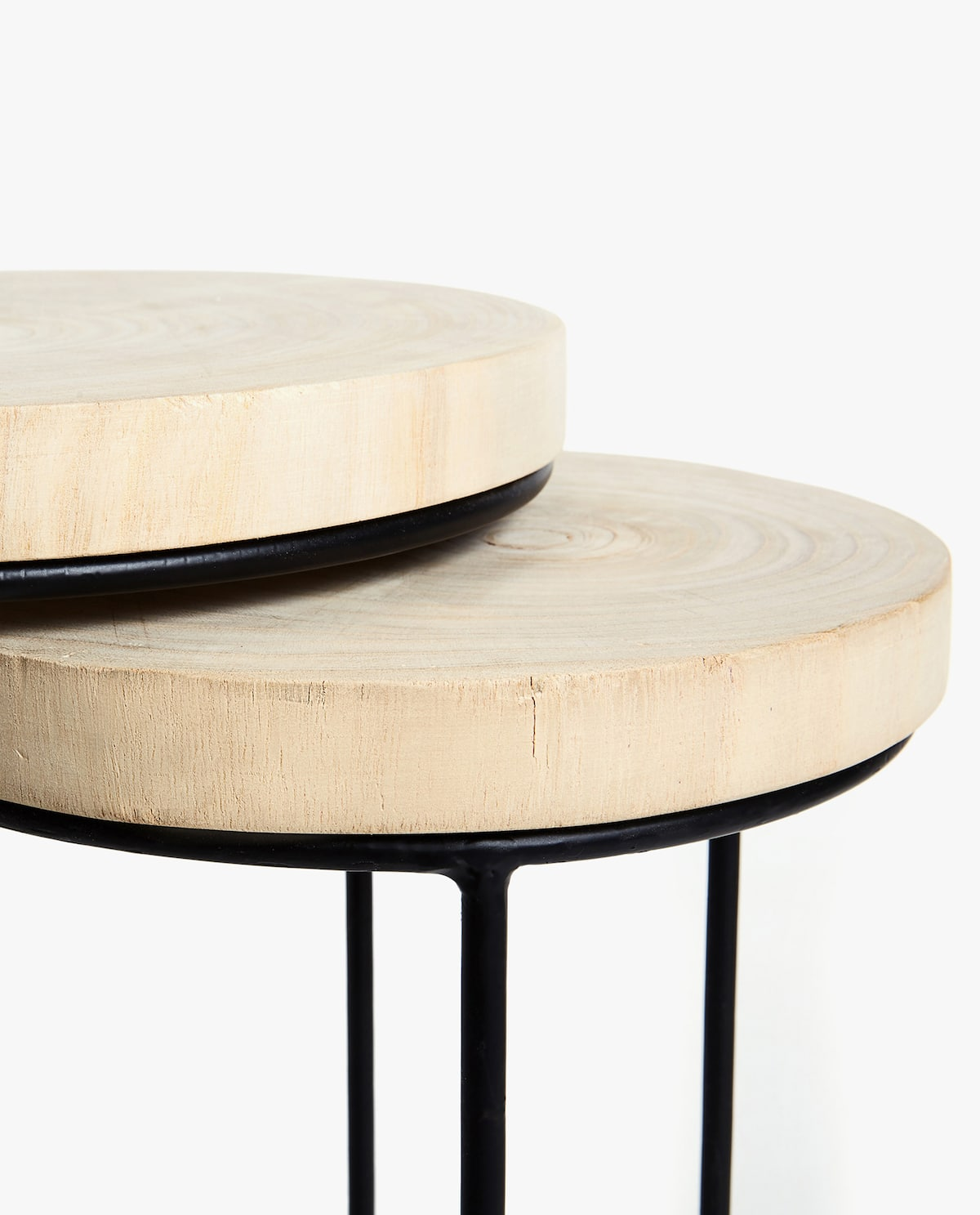 nesting furniture. + Image 4 Of The Product WOODEN NESTING TABLES WITH IRON STRUCTURE (SET OF  2) Nesting Furniture