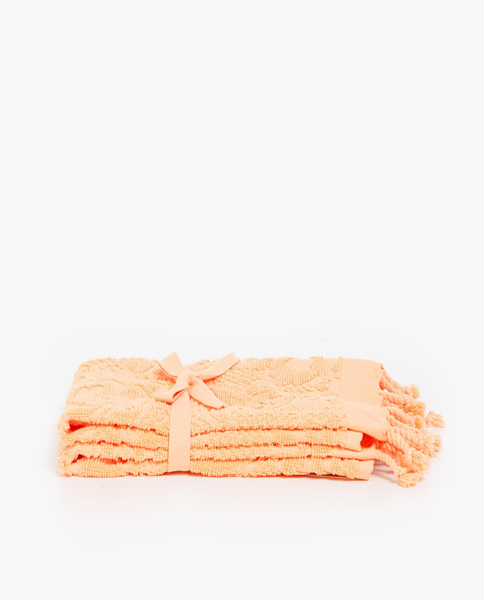 FLORAL COTTON TOWEL WITH FRINGES (SET OF 2)