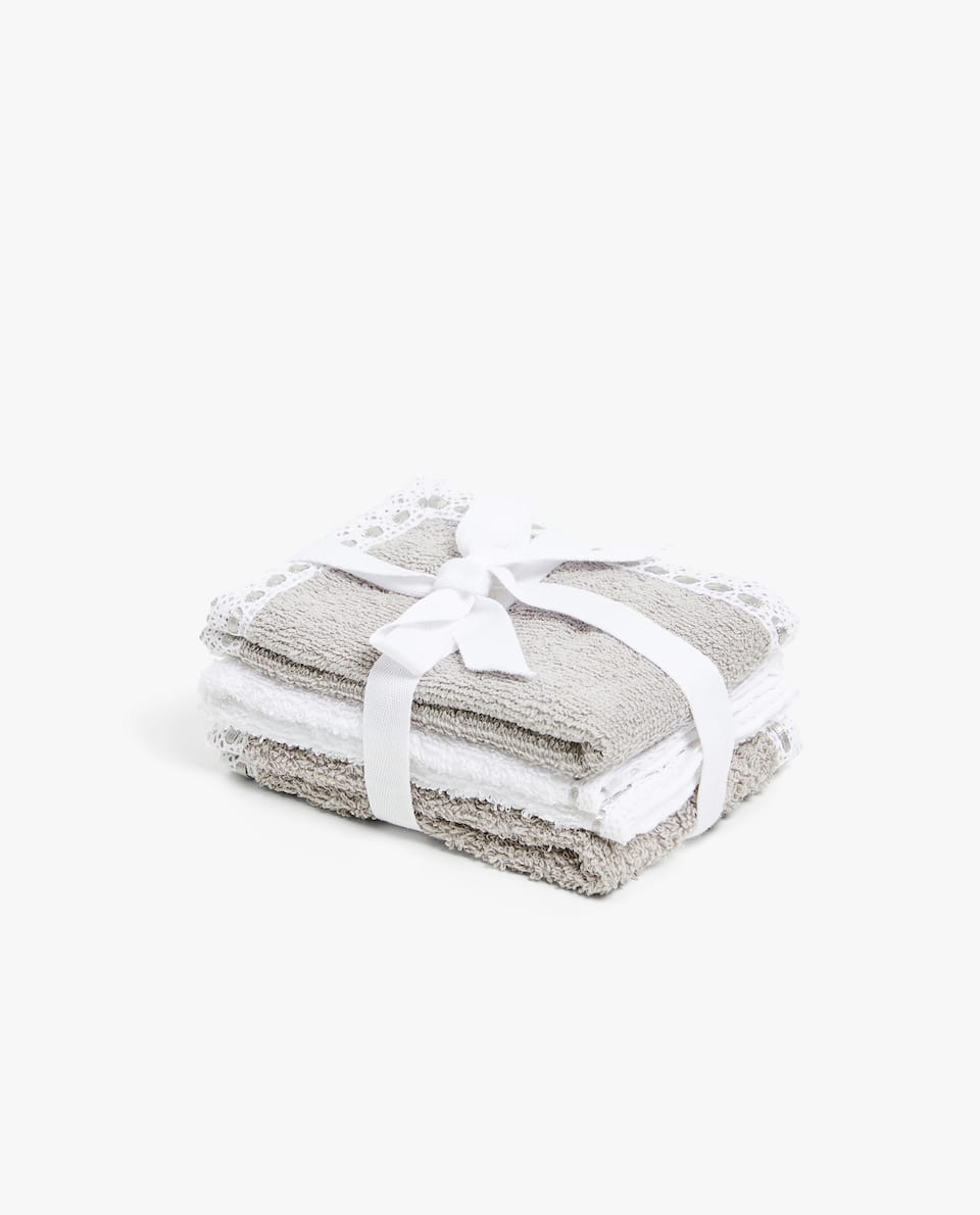 TOWEL WITH LACE TRIM (SET OF 3)