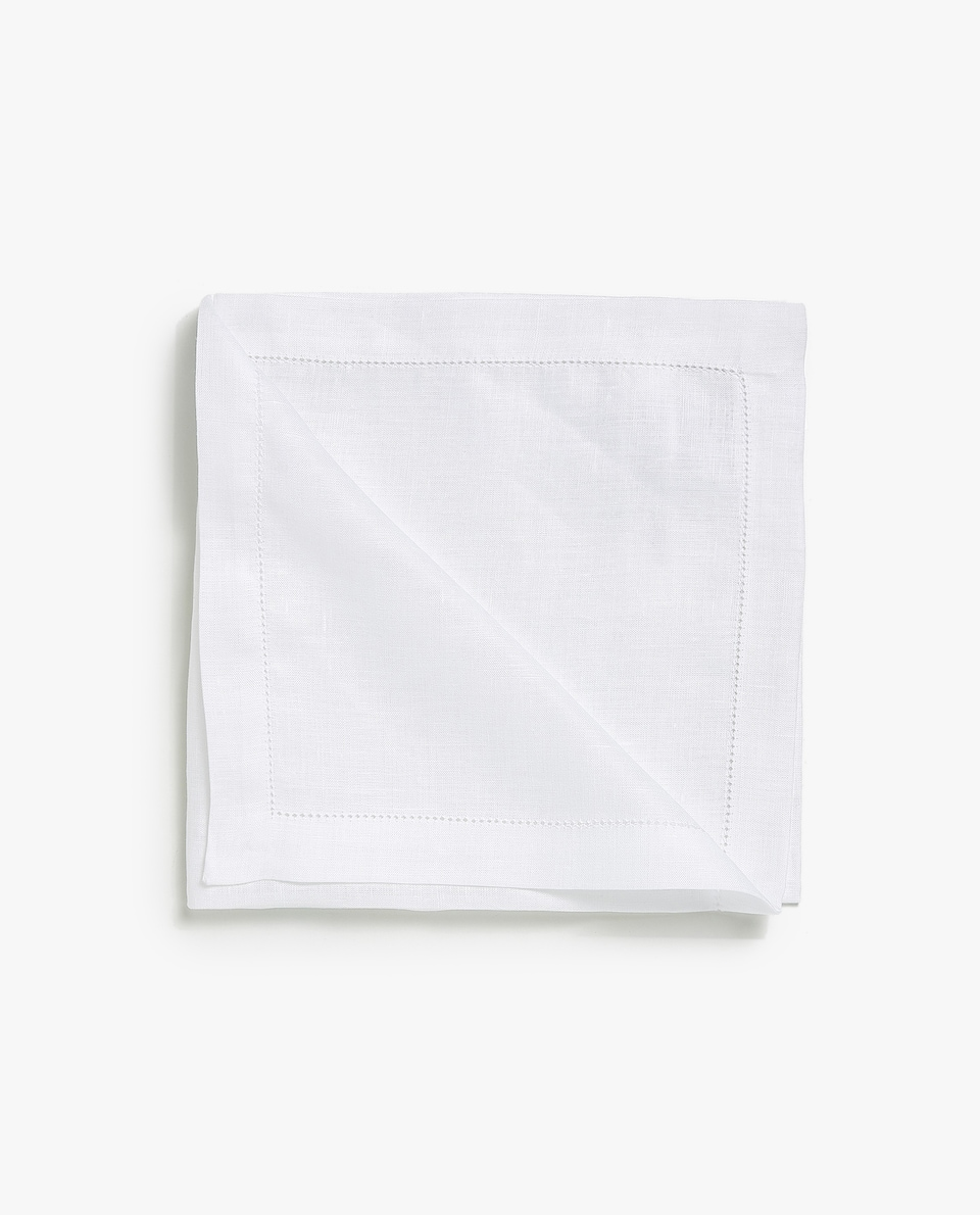 LINEN HEMSTITCHED NAPKINS (SET OF 4)