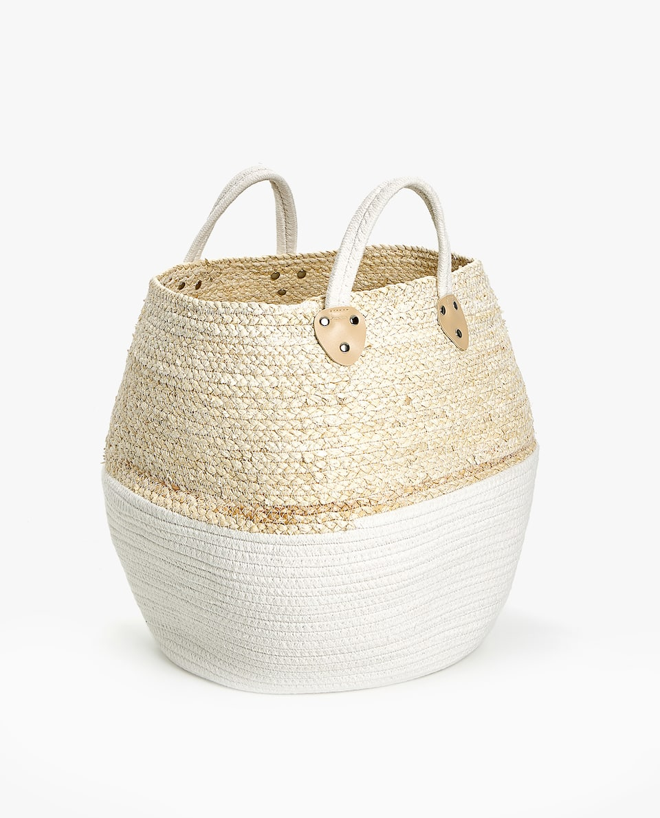 CONTRAST BASKET WITH HANDLES