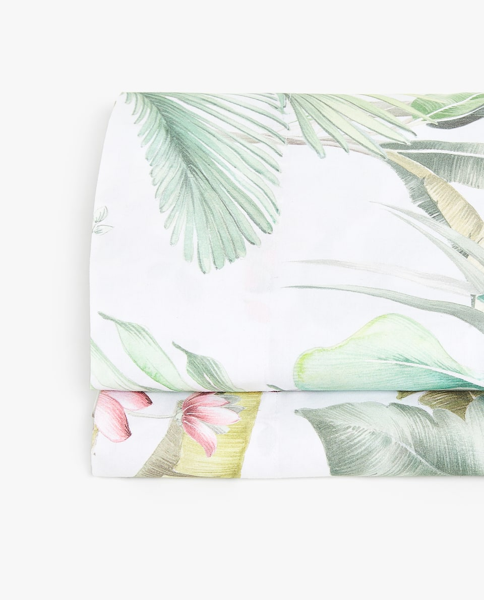 TROPICAL LEAVES PRINT FLAT SHEET