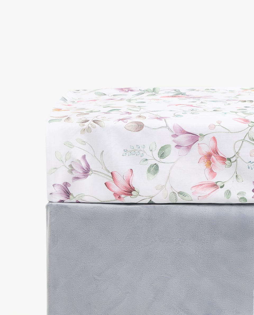 TROPICAL LEAF PRINT FITTED SHEET