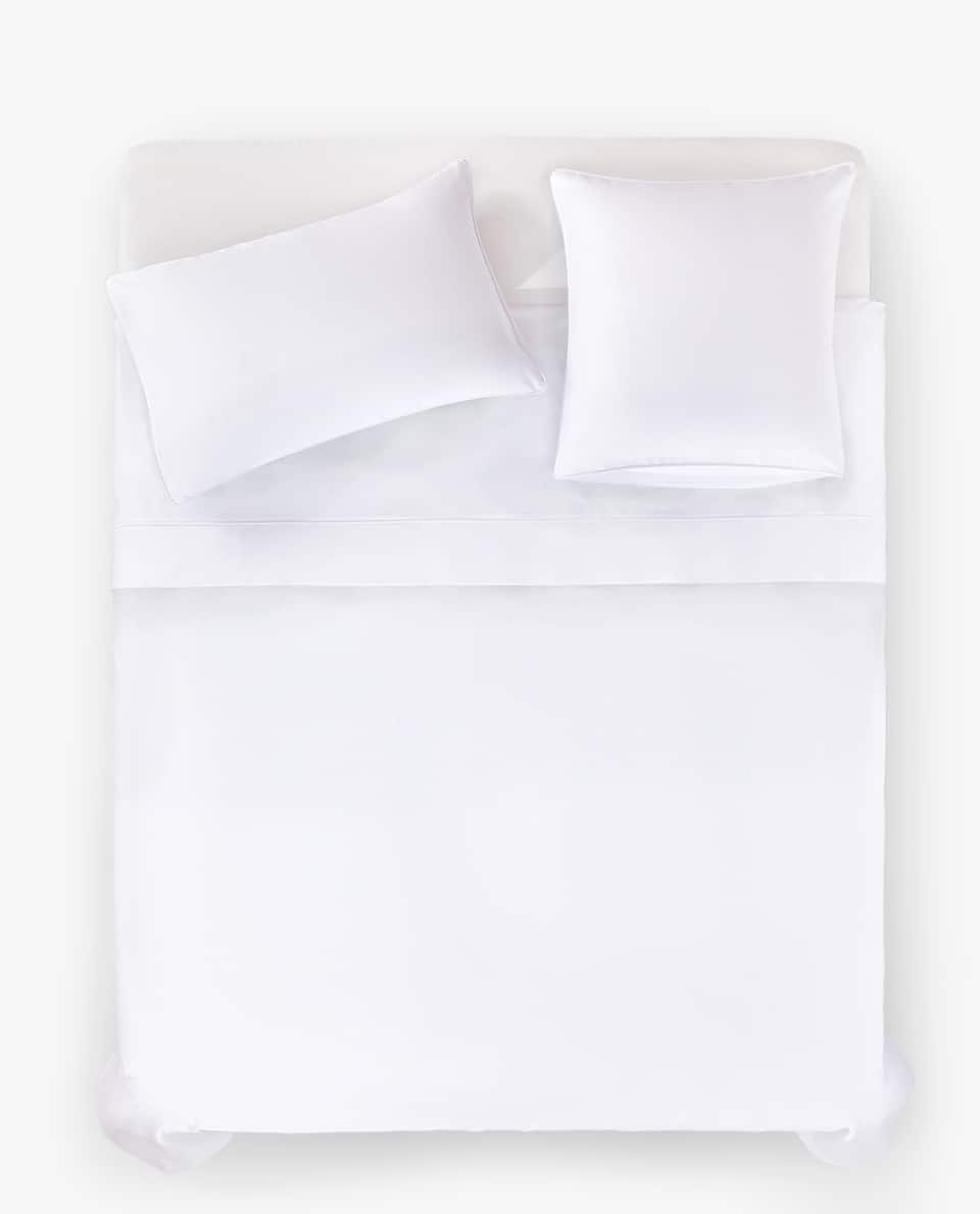 WHITE SATEEN DUVET COVER WITH PIPING