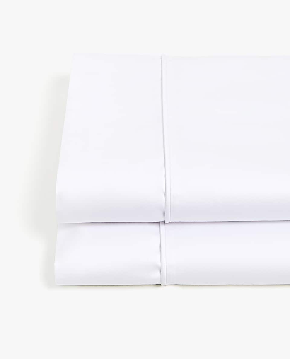 WHITE SATEEN FLAT SHEET WITH PIPING