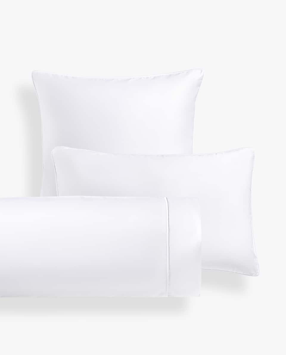 WHITE SATEEN PILLOWCASE WITH PIPING
