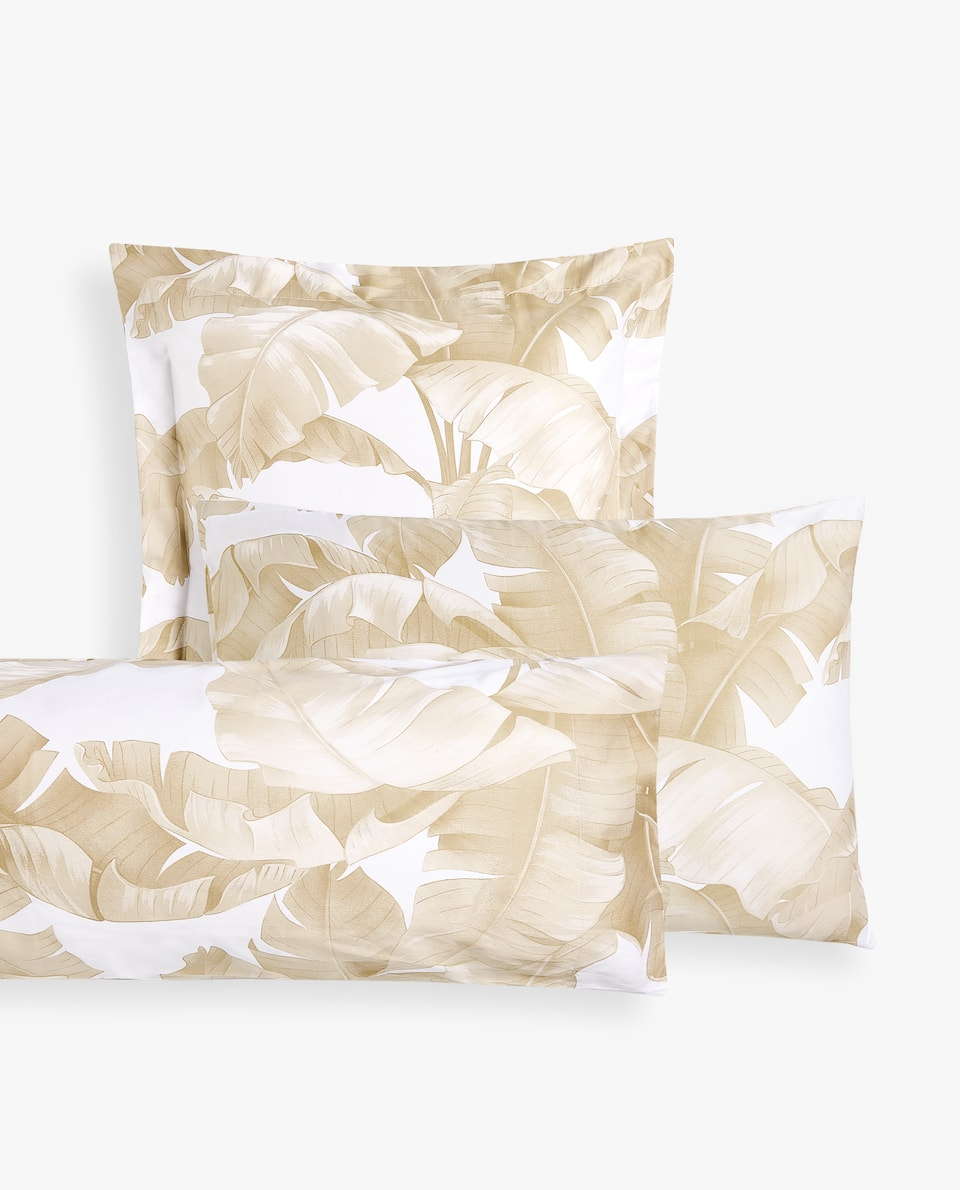 TROPICAL LEAVES PRINT PILLOWCASE