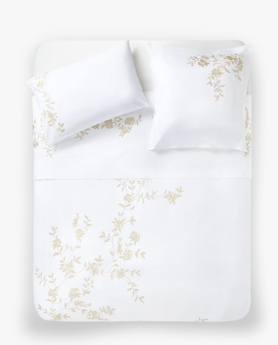BRANCHES AND FLOWERS EMBROIDERED DUVET COVER