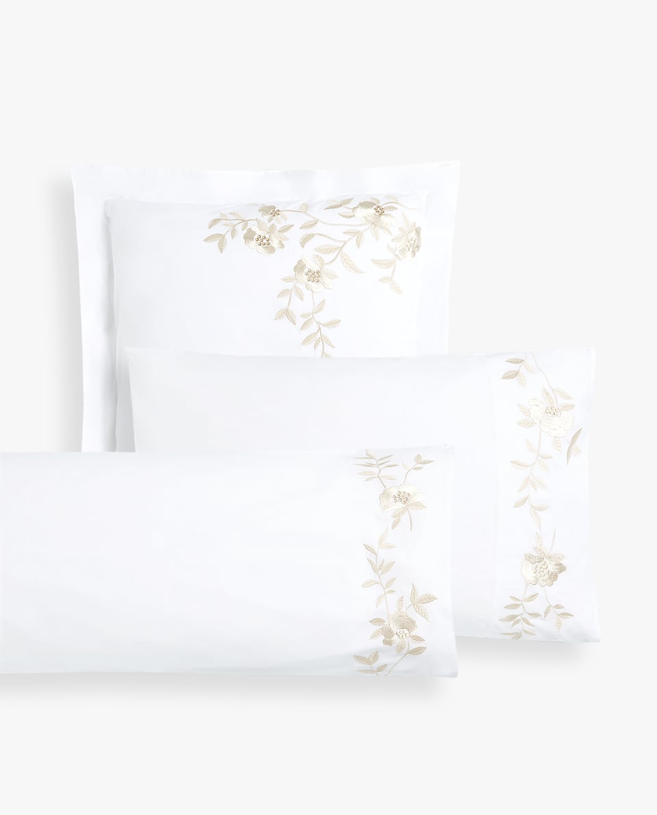 BRANCHES AND FLOWERS EMBROIDERED PILLOWCASE