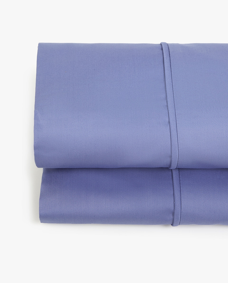 LENZUOLO DI SOPRA SATIN PIPING BLU