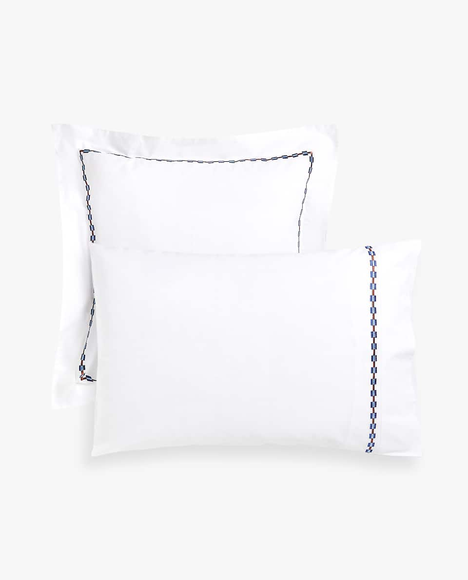 EMBROIDERED SCALLOPED PILLOWCASE