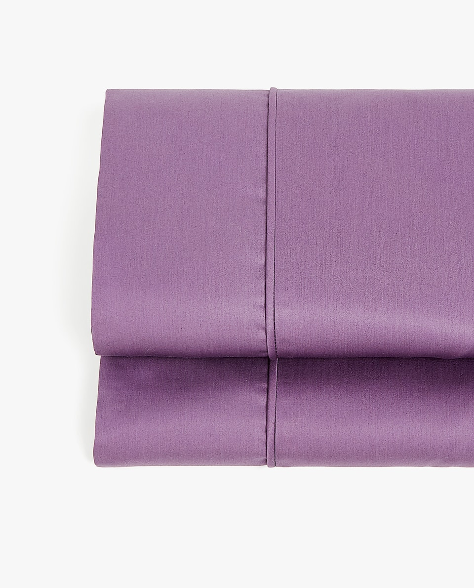 PLUM SATEEN FLAT SHEET WITH PIPING