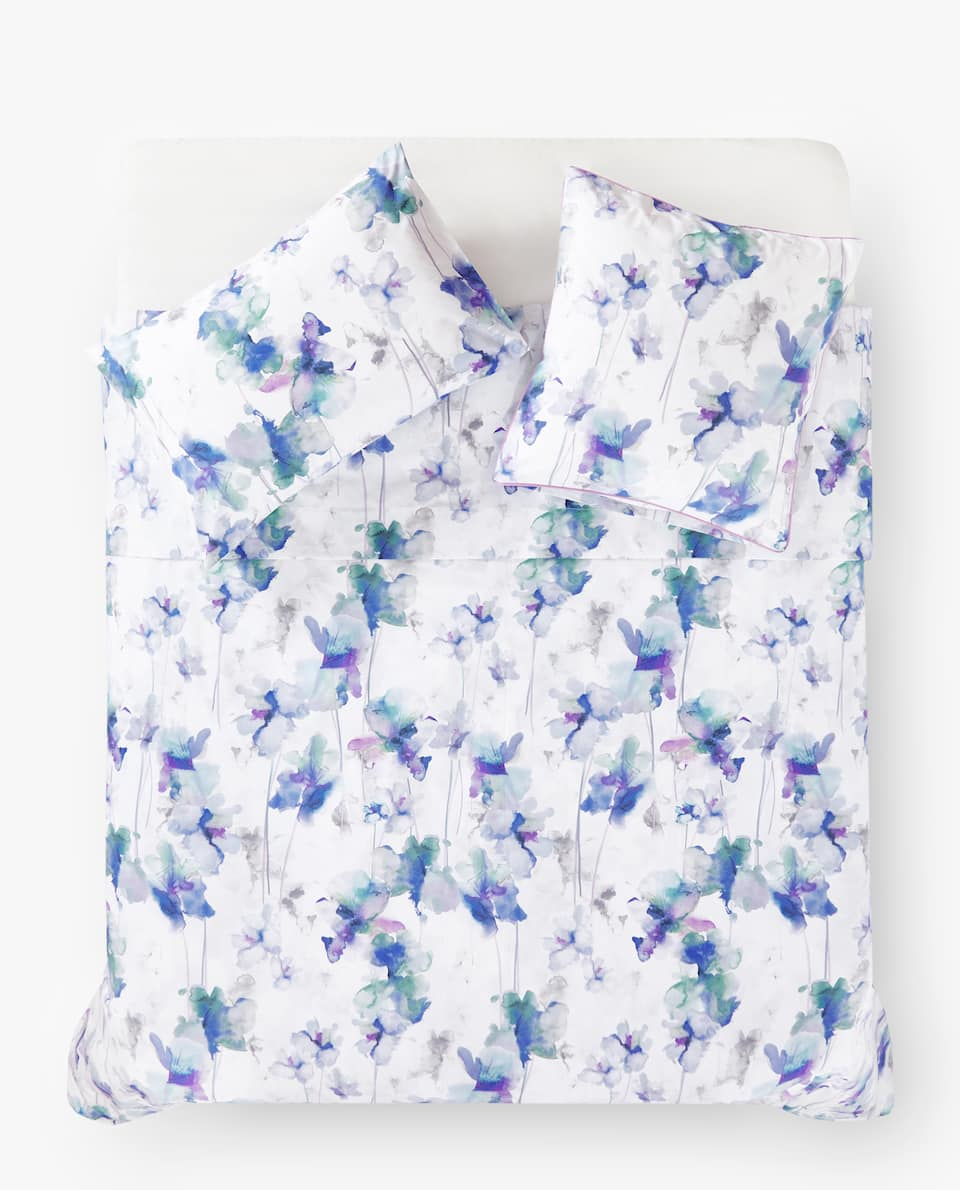 WATERCOLOUR FLORAL PRINT DUVET COVER