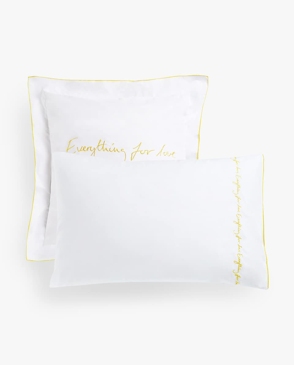 EMBROIDERED SLOGAN PILLOWCASE