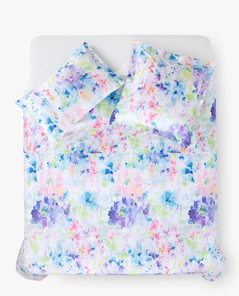 MULTICOLOURED WATERCOLOUR FLORAL DUVET COVER