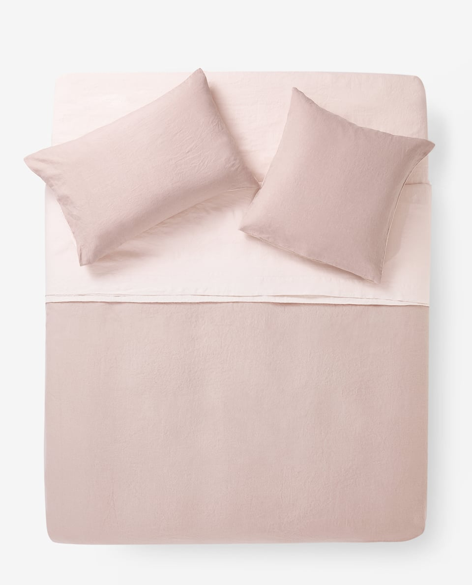 REVERSIBLE FADED LINEN DUVET COVER