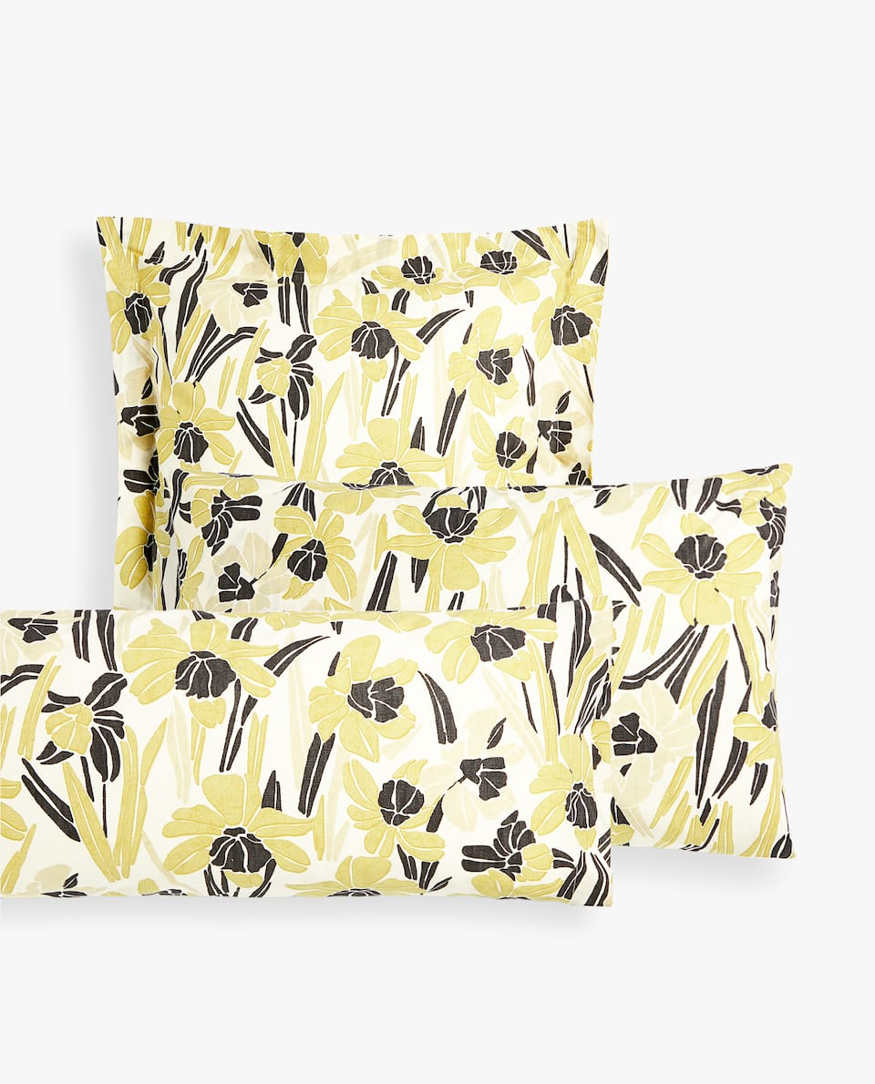 TWO-TONE FLORAL PILLOWCASE