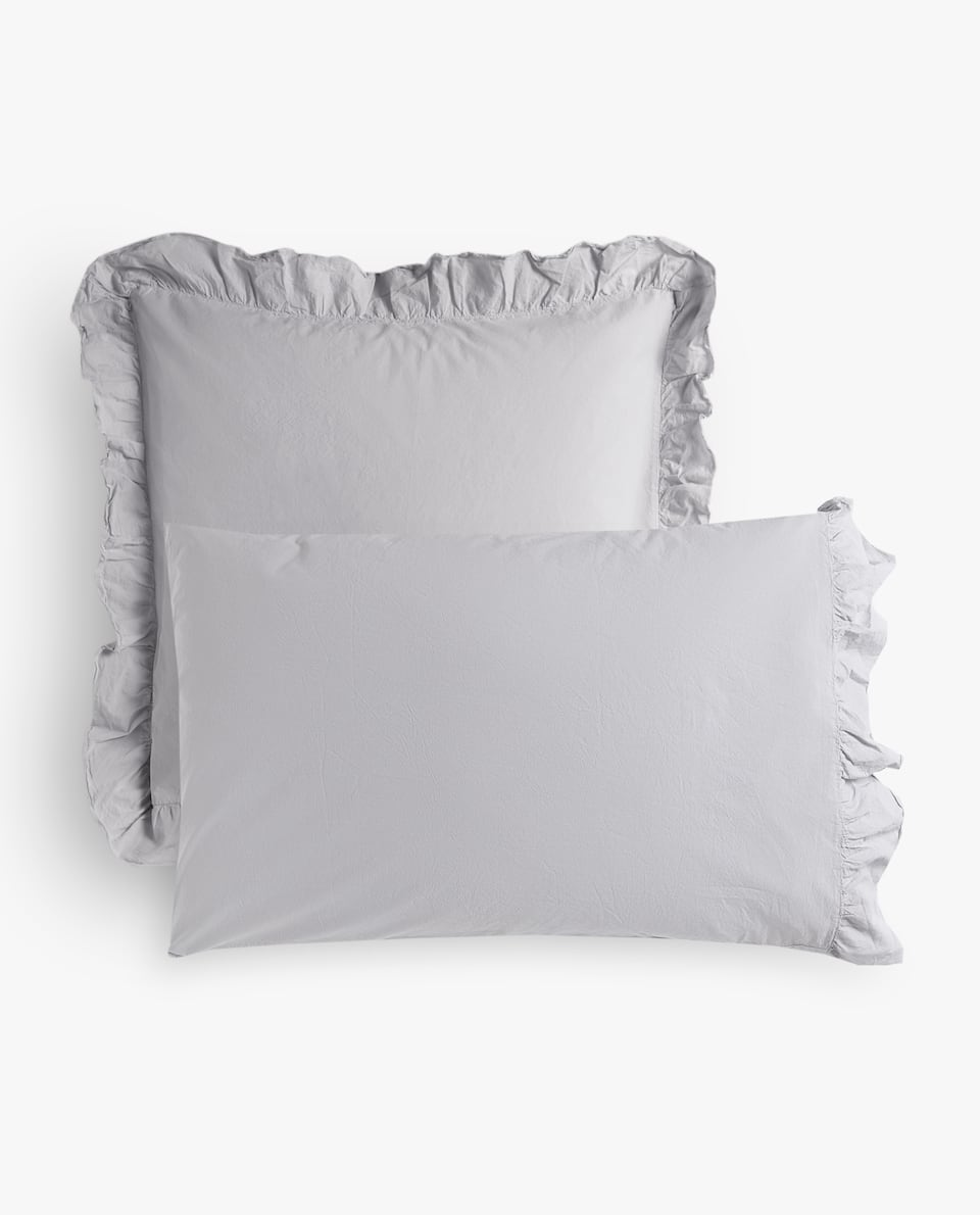 FADED PERCALE PILLOWCASE WITH RUFFLE TRIM