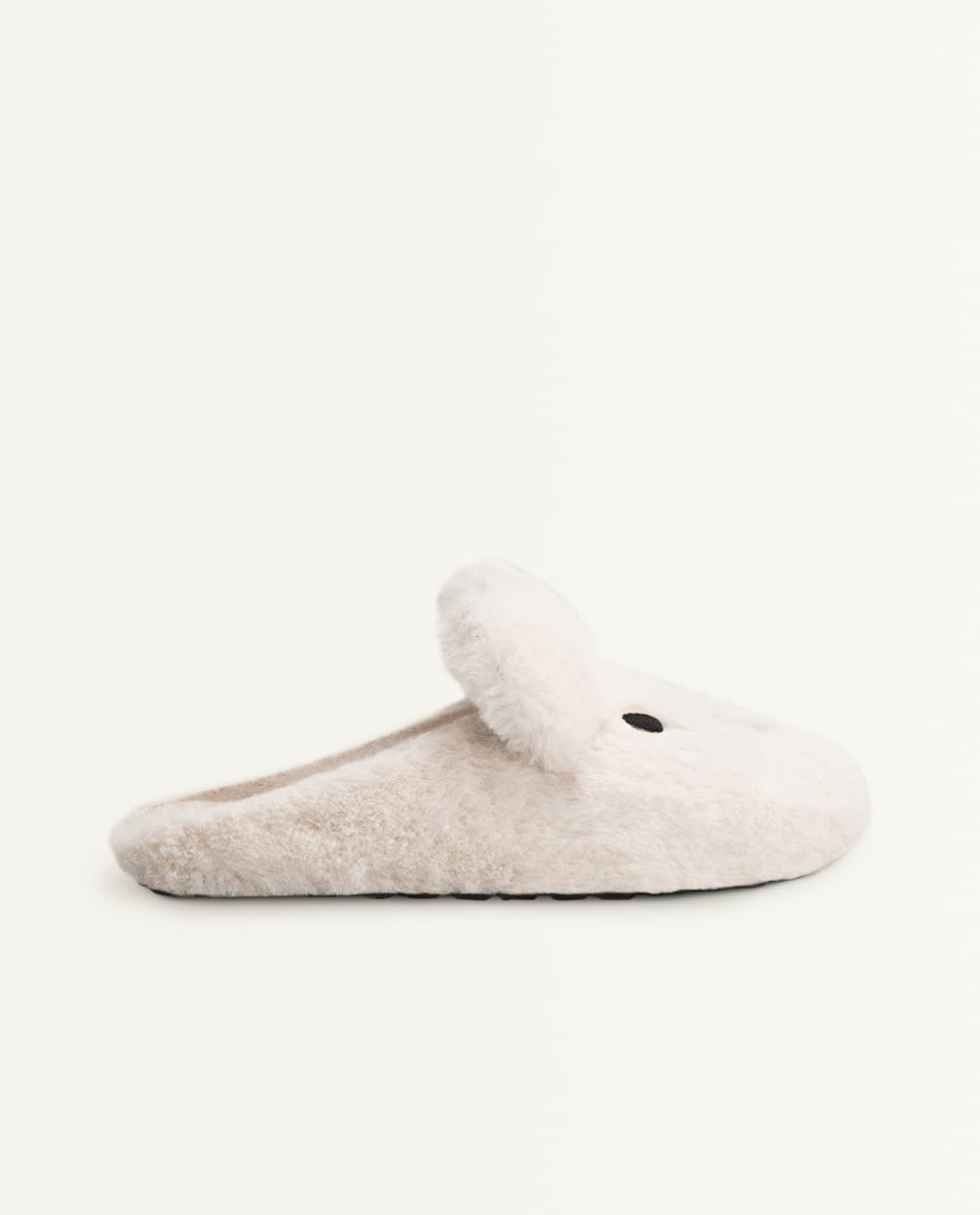 FAUX FUR ANIMAL MULE SLIPPERS