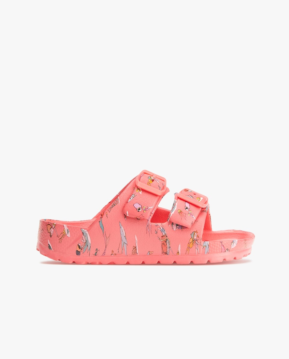 MERMAID PRINT DOUBLE BUCKLE BEACH SANDALS