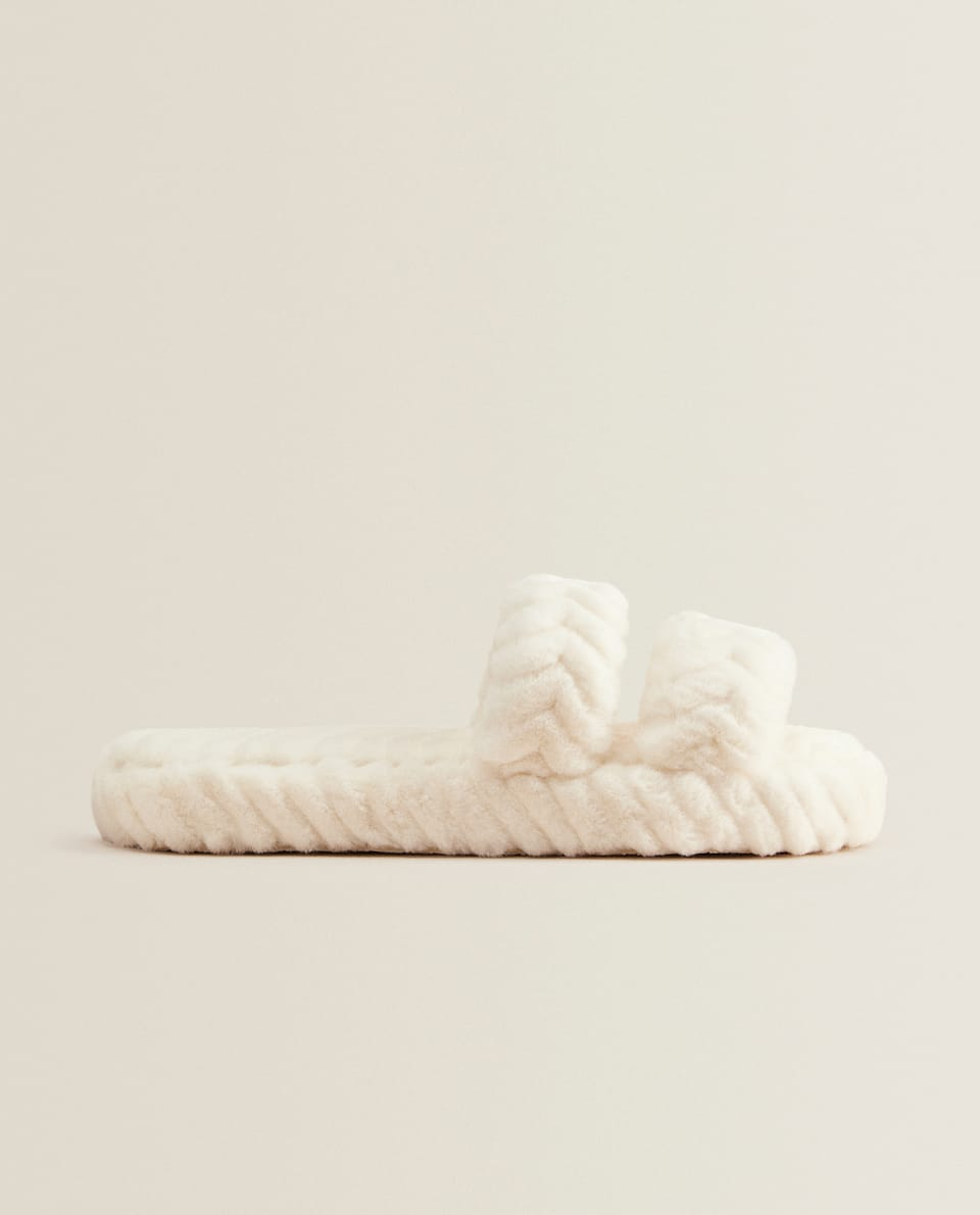 FLUFFY HERRINGBONE SLIDE SLIPPERS