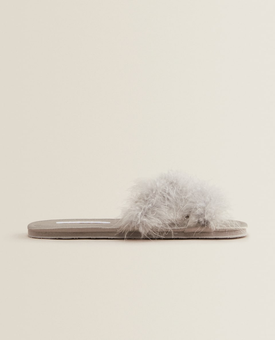 FEATHERY SLIDE SLIPPERS