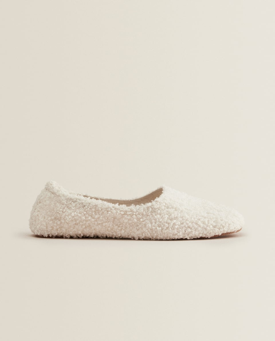 FAUX SHEARLING BALLERINA SLIPPERS