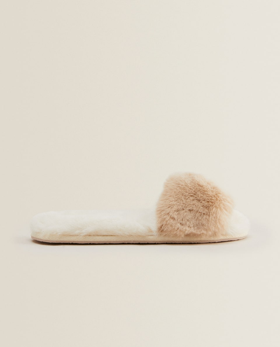 TWO-TONE FAUX-FUR SLIPPERS