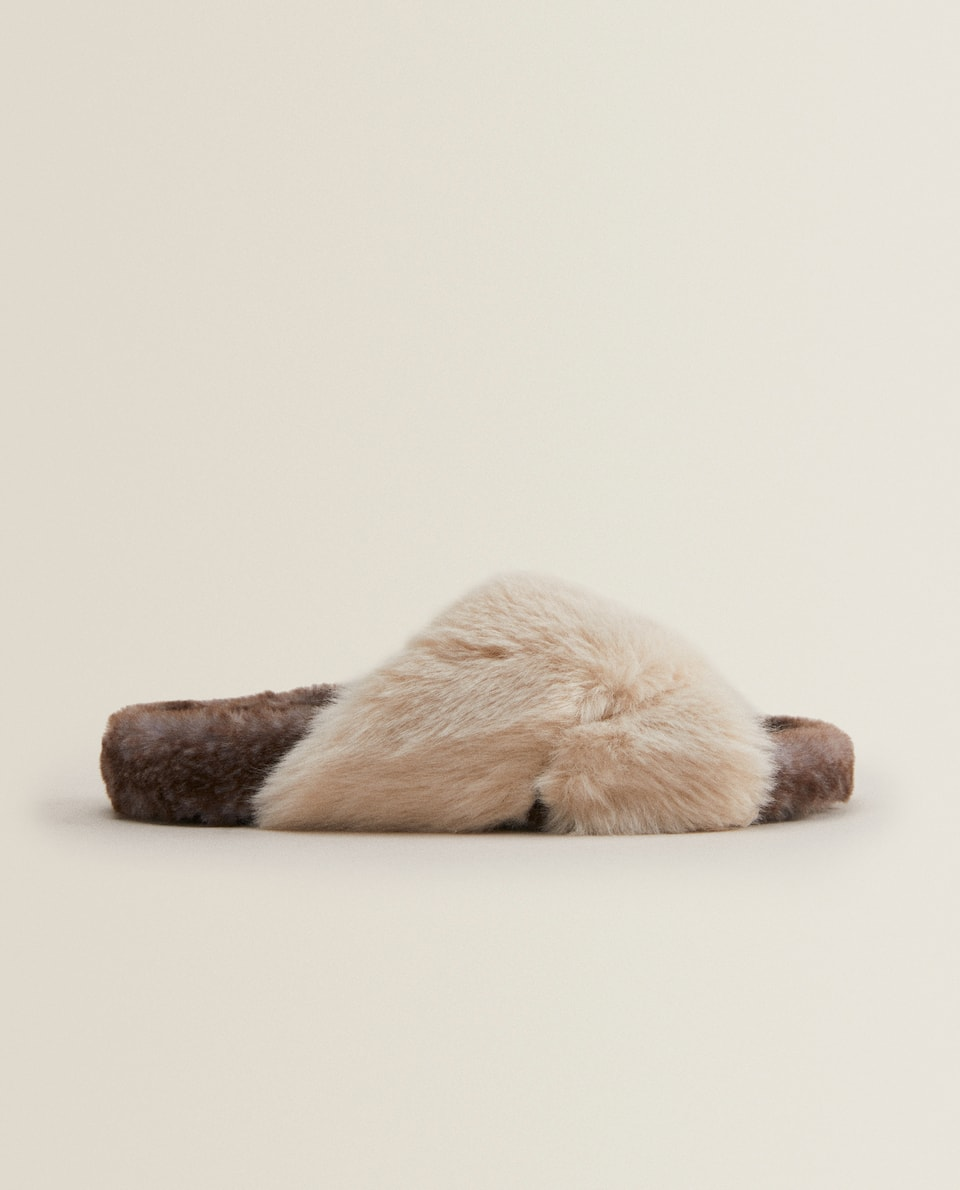 FAUX FUR CRISS-CROSS STRAP SLIPPERS