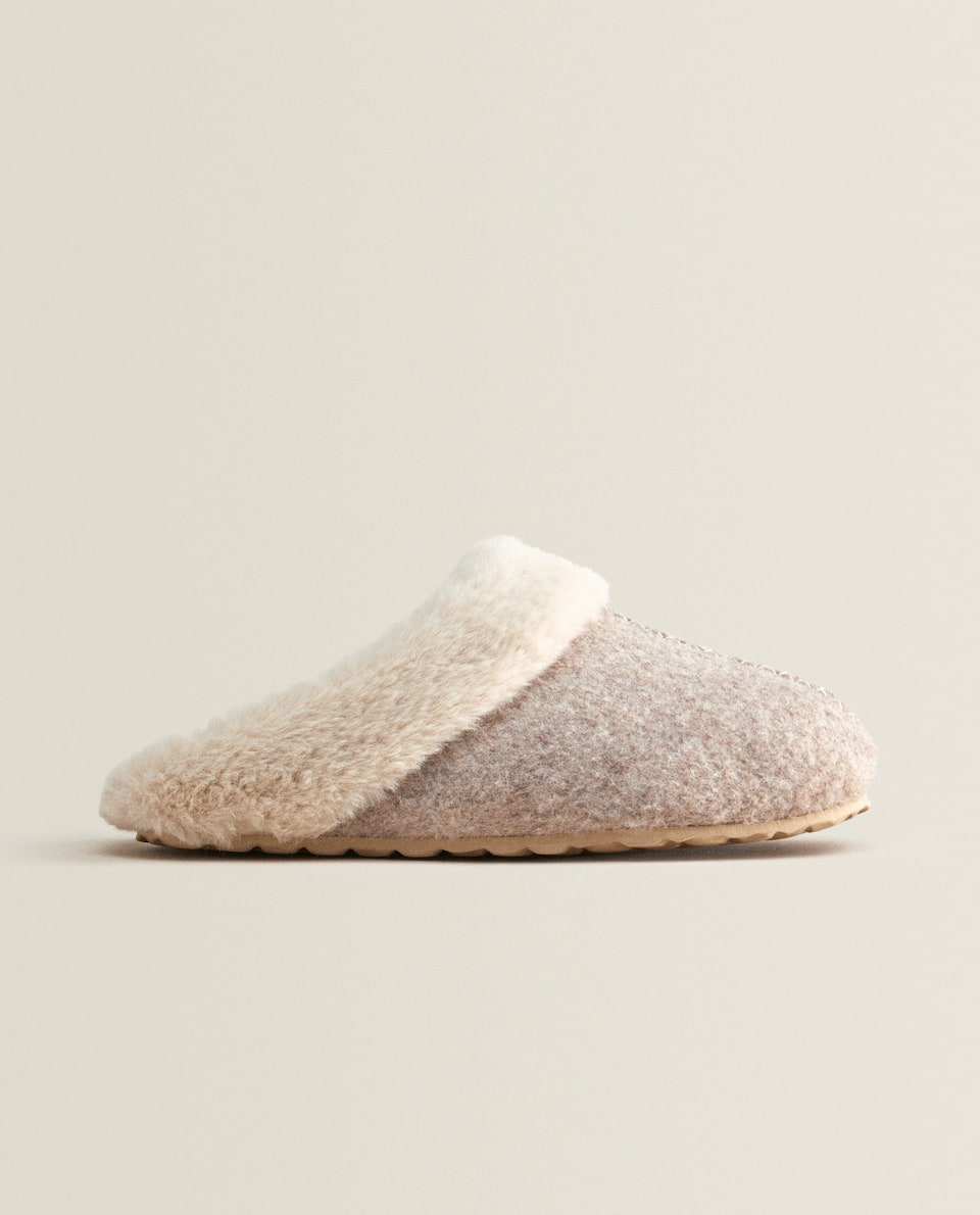 WARM FELT MULE CLOG SLIPPERS