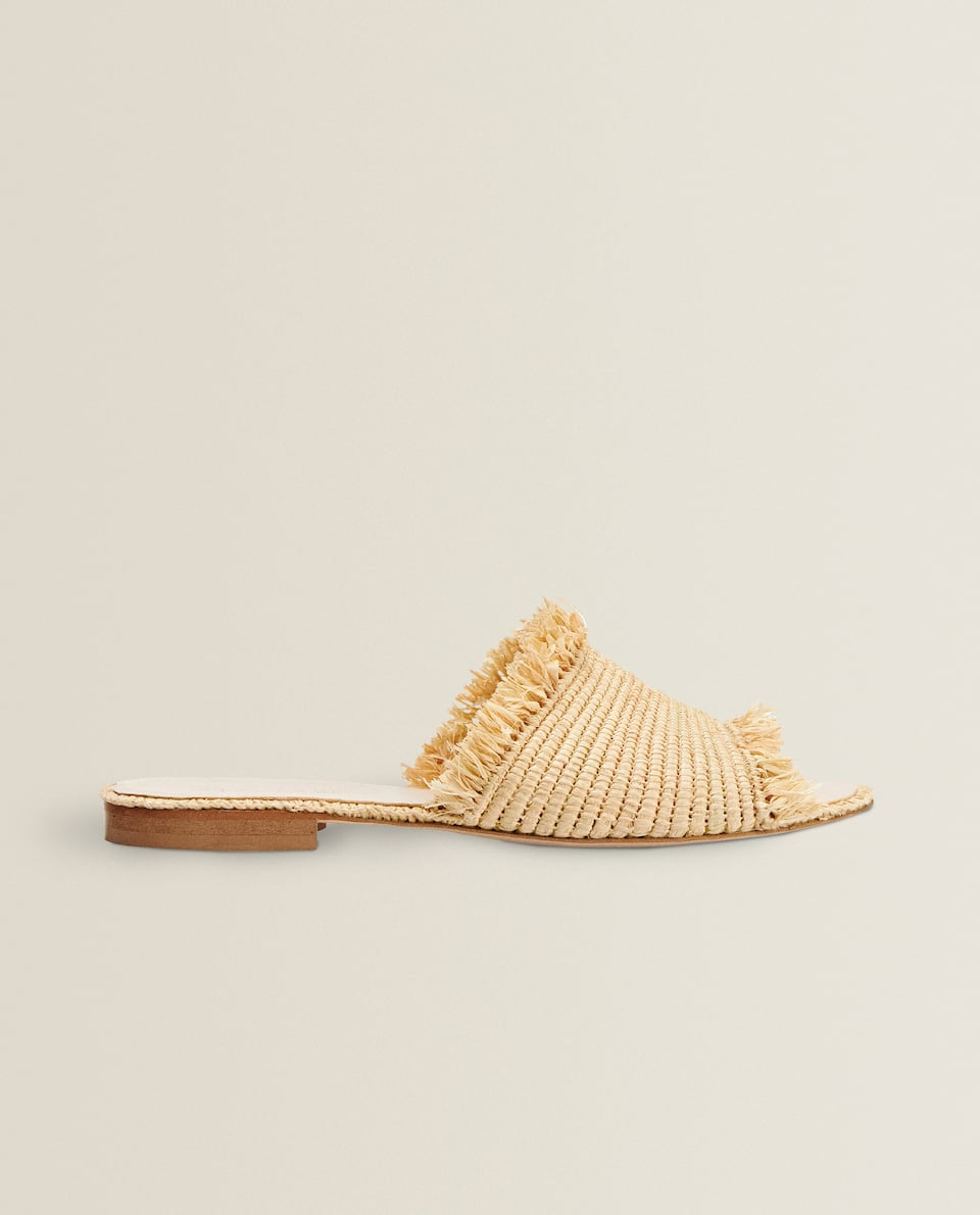 FRINGED RAFFIA SANDALS