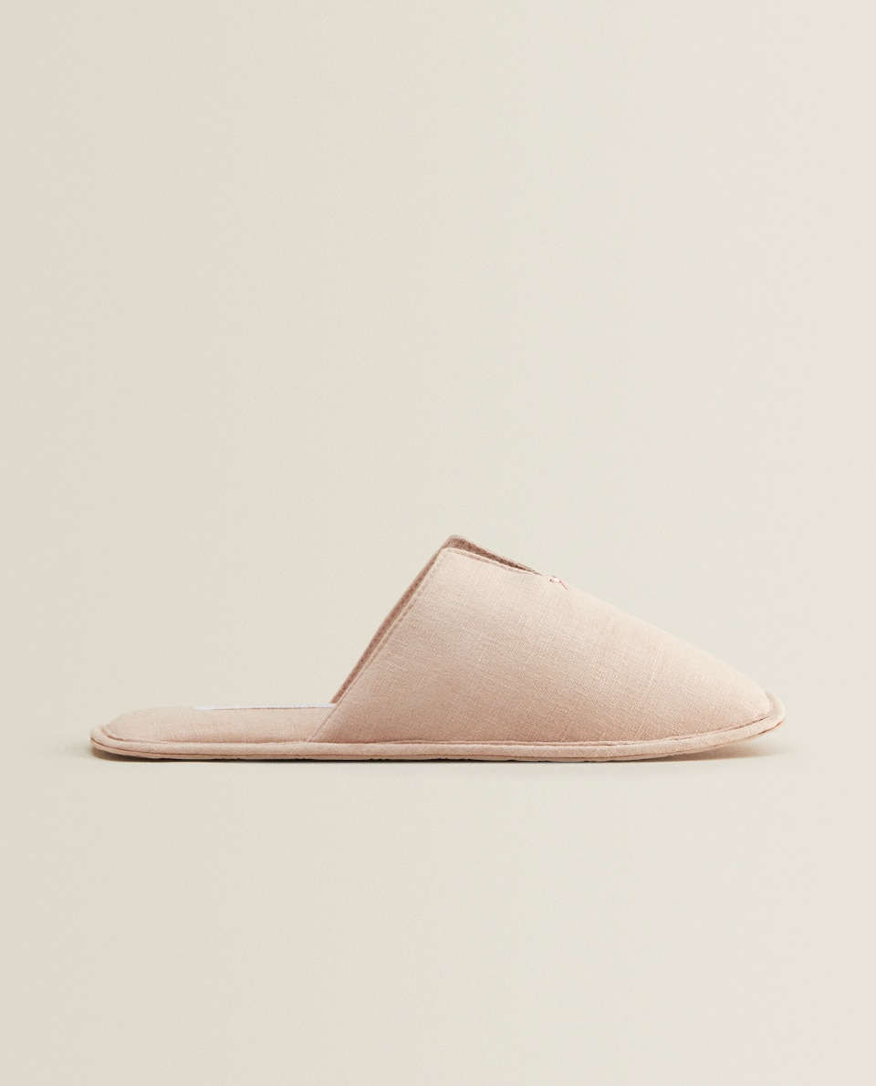 WASHED LINEN SLIPPERS