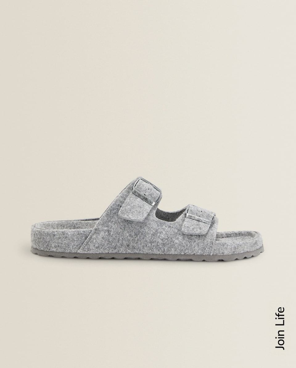 DOUBLE-BUCKLE FELT MULE CLOG SLIPPERS