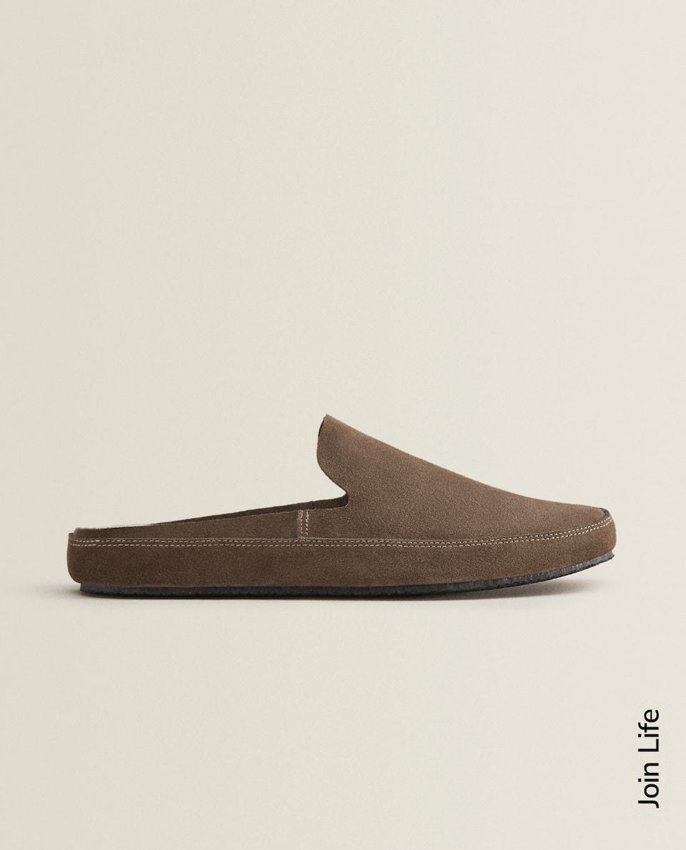 LEATHER MULE CLOG SLIPPERS