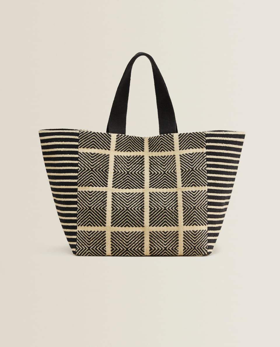 TWO-TONE FABRIC TOTE BAG
