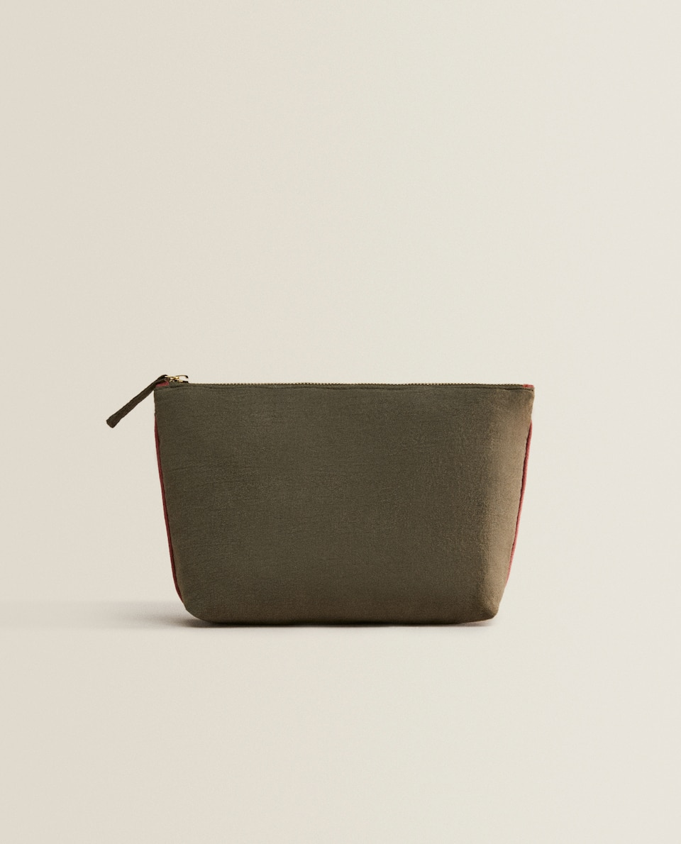 OLIVE GREEN LINEN TOILETRY BAG