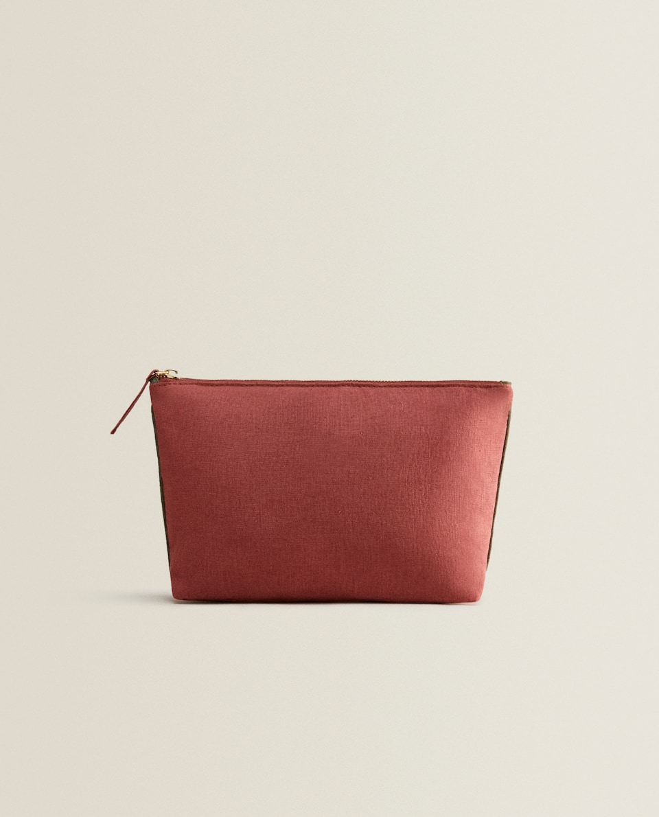 COPPER LINEN TOILETRY BAG