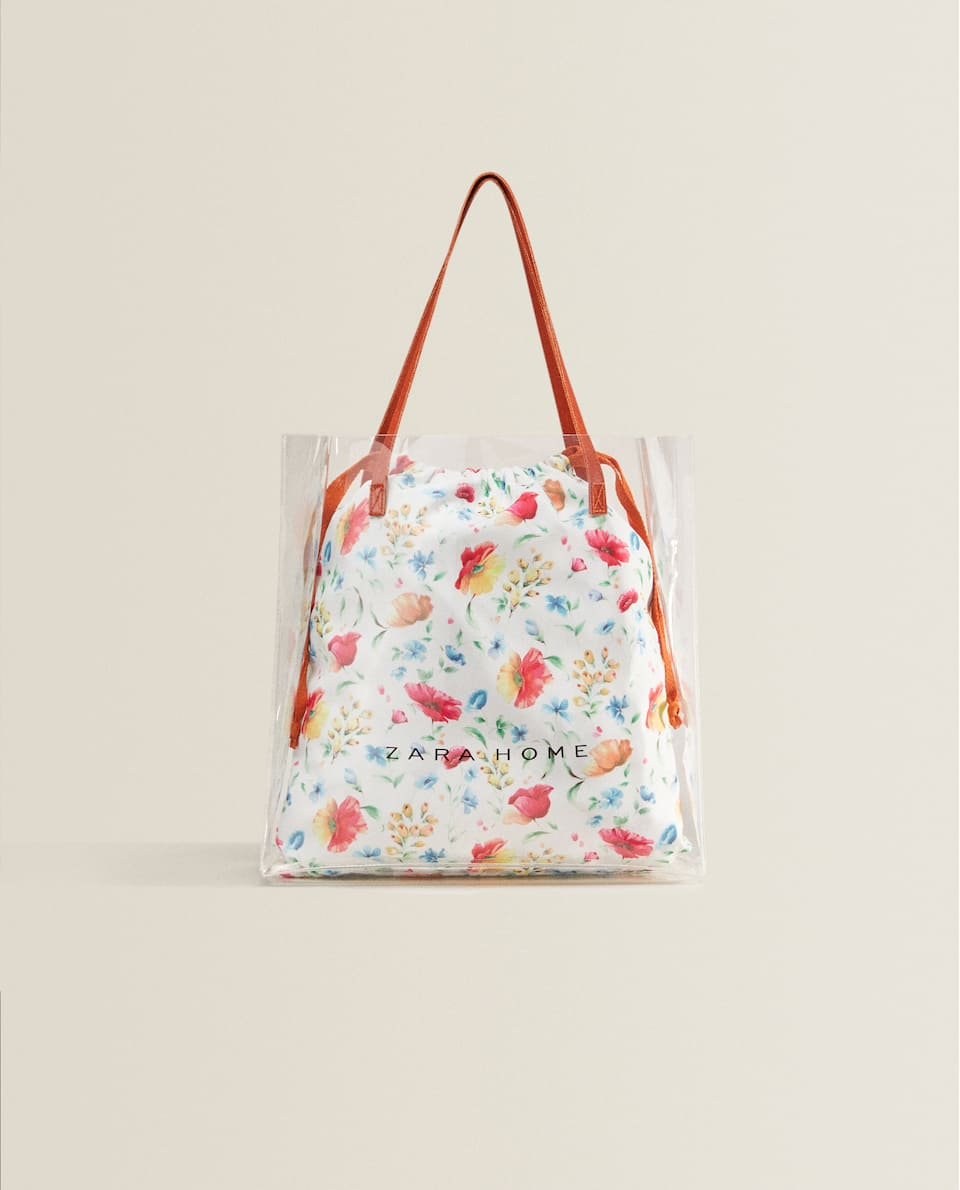 FLORAL PRINT VINYL TOTE BAG *EXCLUSIVELY FOR JAPAN*