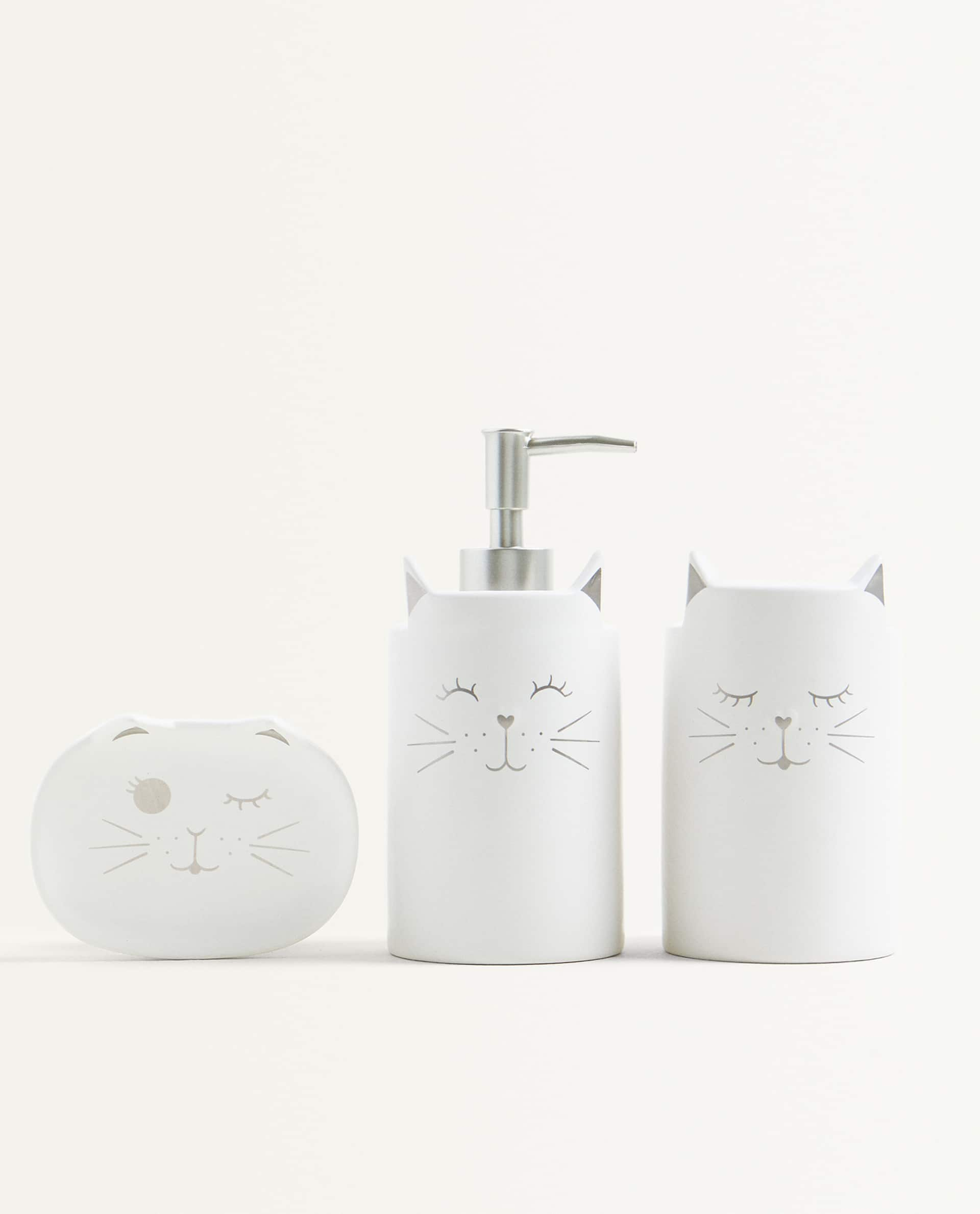 Cat Ceramic Bathroom Set Zara Home