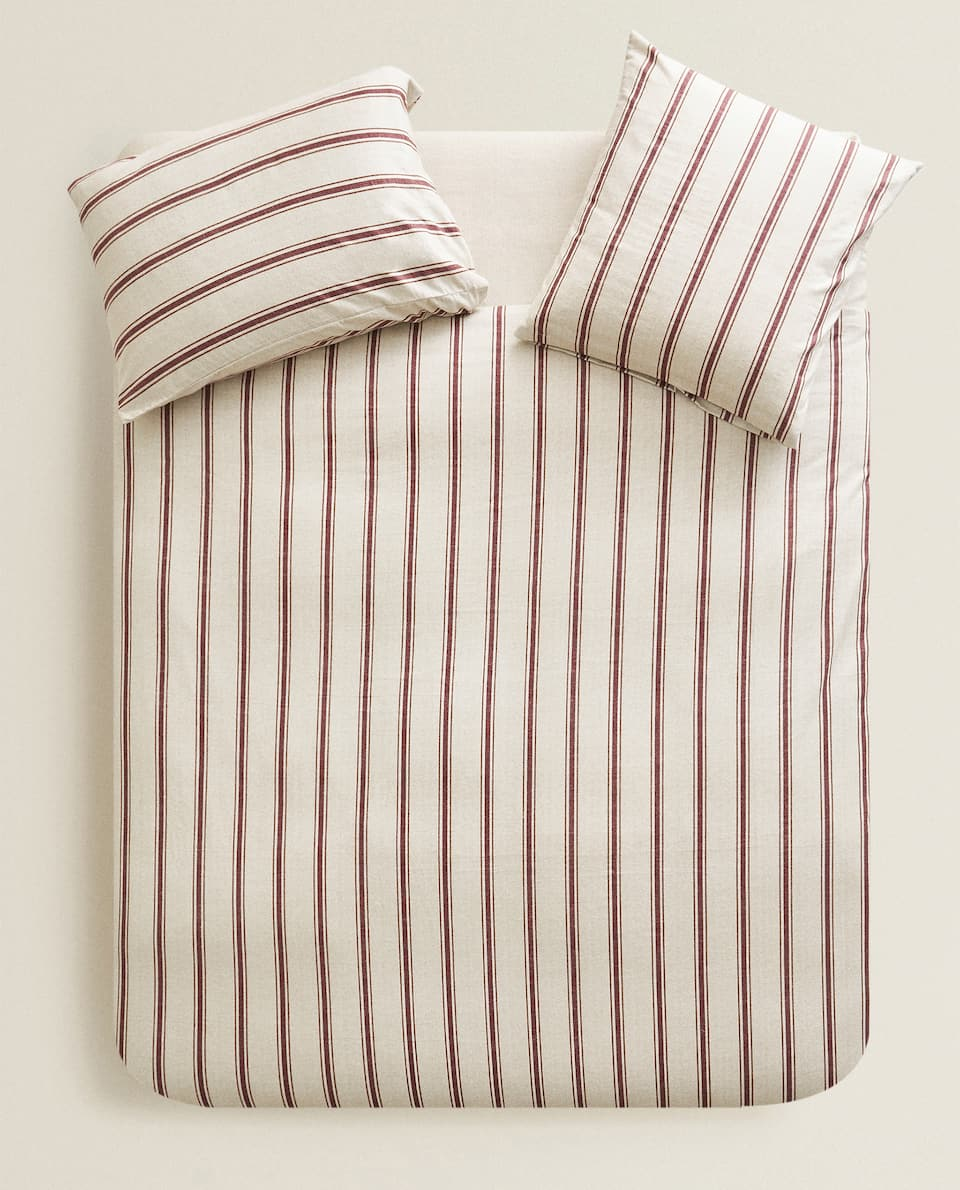 STRIPED FLANNEL DUVET COVER