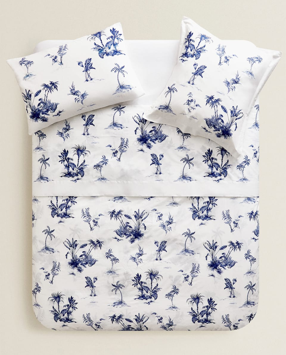BLUE PALM TREE PRINT DUVET COVER