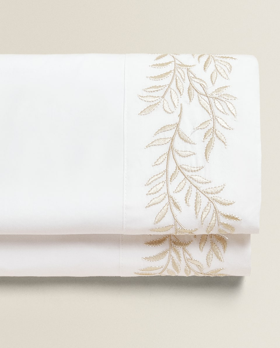 FLORAL EMBROIDERY FLAT SHEET